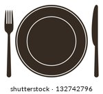 place setting with plate  knife ... | Shutterstock .eps vector #132742796