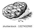 sketch hand drawn grilled steak ... | Shutterstock .eps vector #1327432985