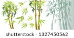 set green bamboo stems and...   Shutterstock .eps vector #1327450562
