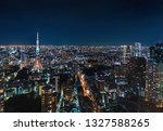 aerial view of tokyo tower at... | Shutterstock . vector #1327588265
