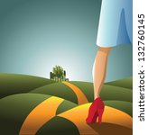 yellow brick road. woman on the ... | Shutterstock . vector #132760145