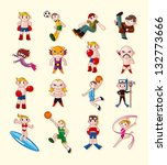 sport player icons set | Shutterstock .eps vector #132773666