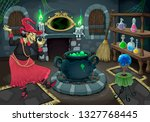 the witch in her own room.... | Shutterstock .eps vector #1327768445