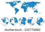 world map and globe detail... | Shutterstock .eps vector #132776882