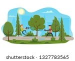 children playing water gun in... | Shutterstock .eps vector #1327783565