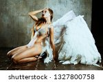 beautiful young model  with...   Shutterstock . vector #1327800758