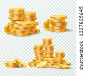 stack of gold coins. golden... | Shutterstock .eps vector #1327835645