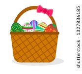 colorful easter eggs in basket... | Shutterstock .eps vector #1327836185