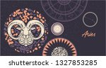 zodiac sign aries. the symbol... | Shutterstock .eps vector #1327853285
