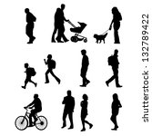 people walking. also available... | Shutterstock . vector #132789422