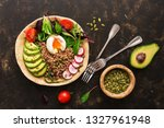 buckwheat porridge with boiled... | Shutterstock . vector #1327961948