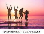 happy friends jumping inside... | Shutterstock . vector #1327963655