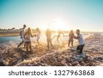 happy friends having fun on the ... | Shutterstock . vector #1327963868