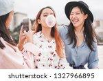 trendy asian girls making video ... | Shutterstock . vector #1327966895