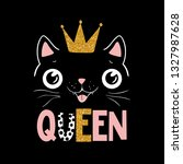 cute black cat in golden crown. ... | Shutterstock .eps vector #1327987628
