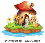 Stock photo illustration of a mushroom house with two cats on a white background 132802895