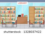 public library interior stack... | Shutterstock .eps vector #1328037422