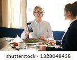young businesswoman showing her ... | Shutterstock . vector #1328048438