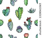 seamless pattern with cactuses  ... | Shutterstock . vector #1328061065