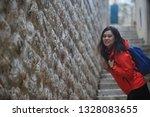 girl visit the dubrovnik in... | Shutterstock . vector #1328083655