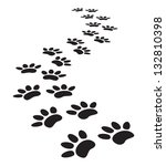 Stock photo animal paw prints 132810398