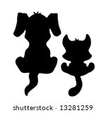 Stock vector little cat and dog silhouette black 13281259