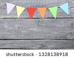 colorful paper flags hanging on ... | Shutterstock . vector #1328138918