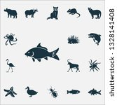 fauna icons set with raccoon ... | Shutterstock . vector #1328141408