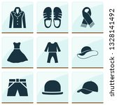 dress icons set with evening... | Shutterstock .eps vector #1328141492