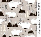 seamless pattern  bears  fir... | Shutterstock .eps vector #1328153975