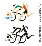 triathlon racers  runner ... | Shutterstock .eps vector #1328158742