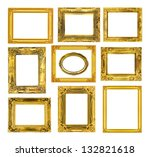 the antique gold frame on the... | Shutterstock . vector #132821618