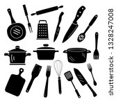 kitchen cooking icons. black... | Shutterstock .eps vector #1328247008
