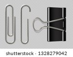 paper clips. realistic binder ... | Shutterstock .eps vector #1328279042