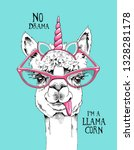 fun llama in a pink glasses and ... | Shutterstock .eps vector #1328281178
