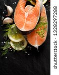fresh  raw salmon steaks with... | Shutterstock . vector #1328297288