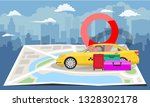 yellow taxi with bags and red... | Shutterstock .eps vector #1328302178