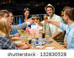 group of young friends drinking ... | Shutterstock . vector #132830528
