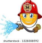 Fireman Emoticon Using A Hose