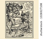 battle of the skeleton and...   Shutterstock .eps vector #1328327108