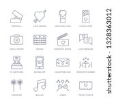 set of 16 thin linear icons... | Shutterstock .eps vector #1328363012