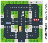 top view of the road with cars... | Shutterstock .eps vector #1328419928