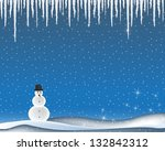 Winter landscape with icicles and snow man - stock vector