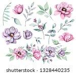 peonies  watercolor pink and... | Shutterstock . vector #1328440235