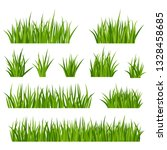 set of bunches of green grass...   Shutterstock .eps vector #1328458685