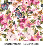 Stock vector butterfly with floral seamless pattern on blue background 132845888