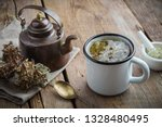 healthy tea with iceland moss....   Shutterstock . vector #1328480495