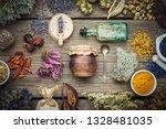 dry medicinal herbs  plants ...   Shutterstock . vector #1328481035
