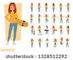 set of woman wear yellow shirt... | Shutterstock .eps vector #1328512292