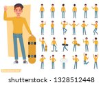 set of man wear yellow shirt... | Shutterstock .eps vector #1328512448